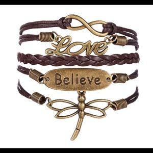 New boho wrap charm bracelet brown copper